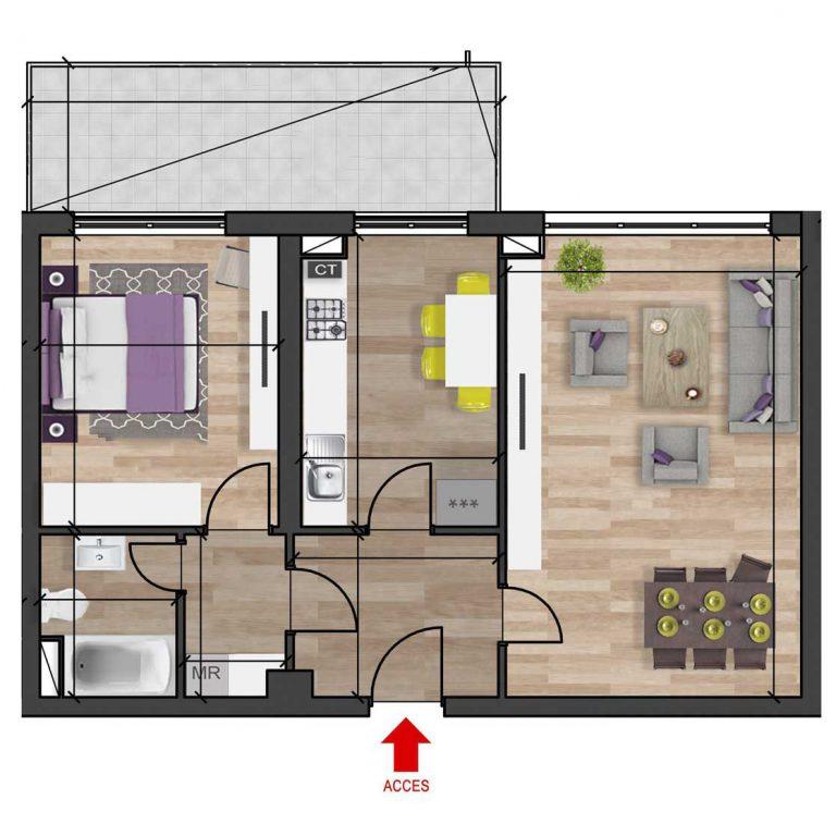 Plan 2d apartament cu 2 camere tip 1