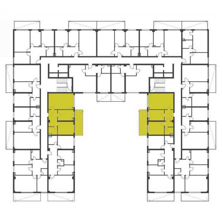 Pozitionare etaj apartament cu 2 camere tip 1