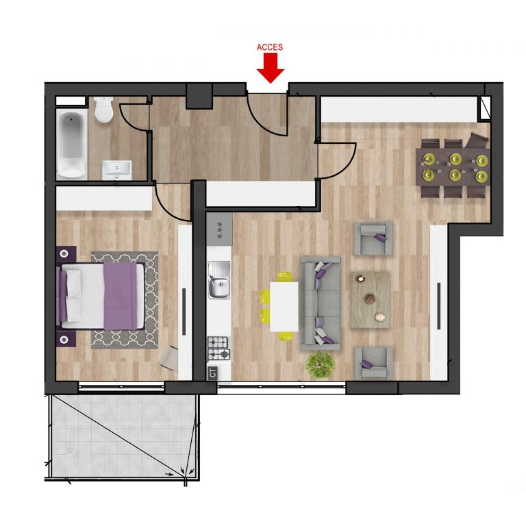 Plan 2D apartament cu 2 camere tip 5