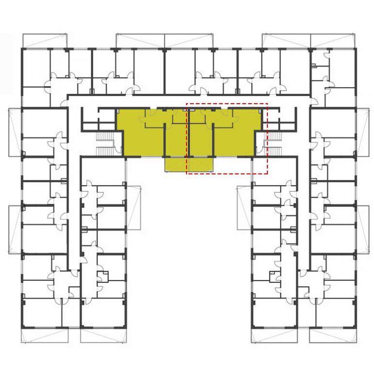 Plan etaj apartament cu 2 camere tip 5