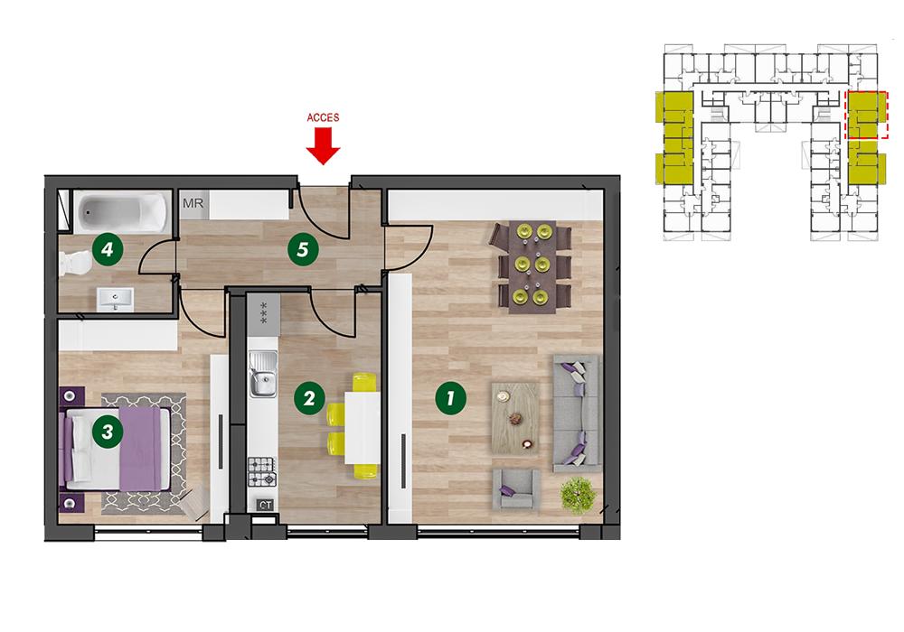 Plan 2d apartamentul 11